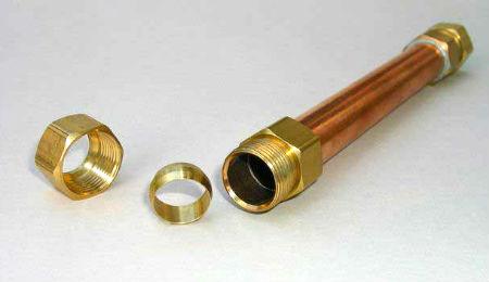Обжимной разборный фитинг для медной трубы
