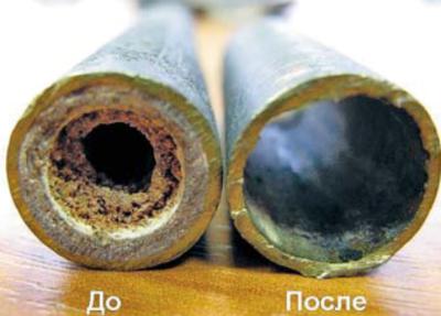 Труба до и после очистки с помощью гидромеханических приборов