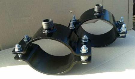 Стандартные стальные хомуты для врезки в водопровод