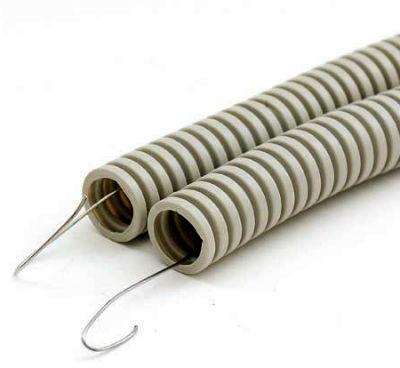 Внутри гофрированных труб есть проволока для протяжки кабеля