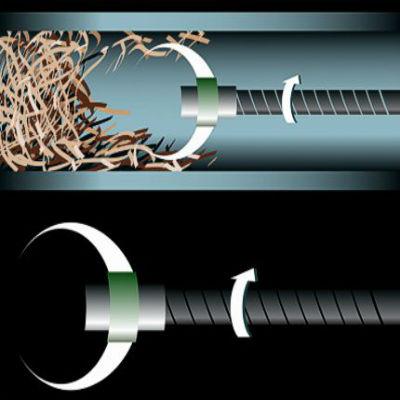 Использование троса для прочистки засора