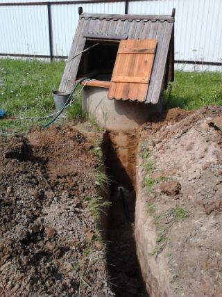 Траншея для трубы водоснабжения из колодца