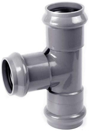 Разборный пластиковый тройник для стояка канализации