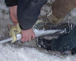 Утепление водопроводной трубы на улице минеральной ватой