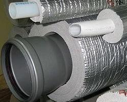 Утепление труб пенополистиролом с отражающим экраном из фольги