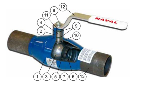 Схема конструкции шарового крана Навал