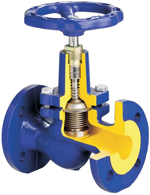 Запорный клапан с ручным приводом в разрезе