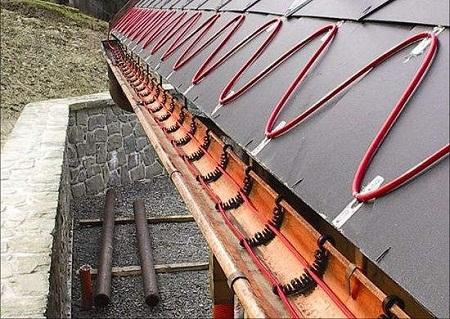 Обогрев края крыши и желоба электрическим кабелем