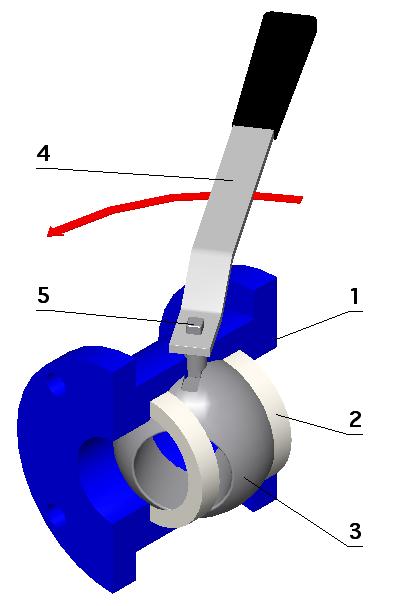 Схема компоновки шарового крана