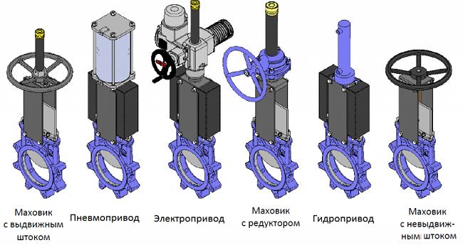 Разновидности привода межфланцевых задвижек