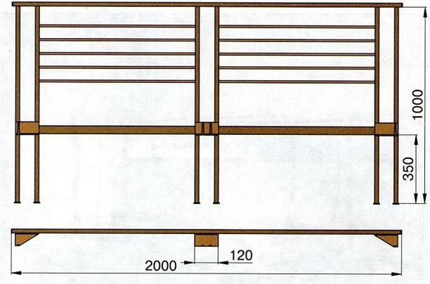 Схема спинки кровати из профиля