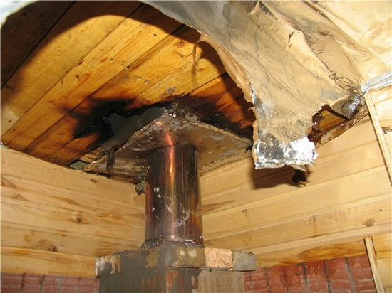 Есть опасность возгорания деревянных перекрытий из-за неправильного монтажа