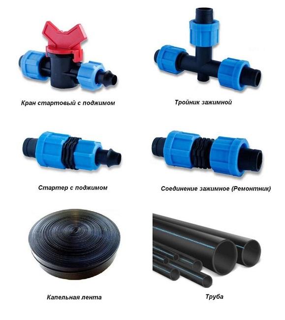 Составляющие элементы системы капельного полива