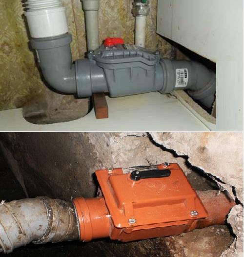Обратные клапаны для канализации Ду 50мм (вверху), Ду 110мм (внизу)