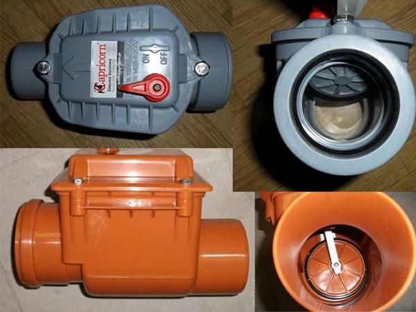 Обратный клапан для канализации с пластиной (вид изнутри)