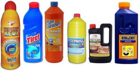 Химические средства для устранения засоров в канализационных трубах