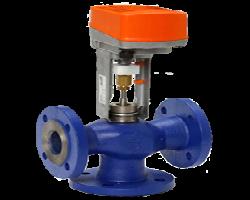 Фланцевый регулирующий клапан с приводом