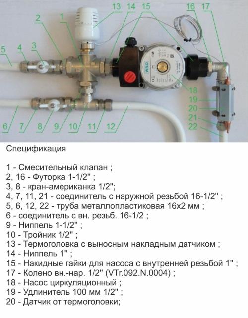 Пример применения смесительного термостатического вентиля в узле системы отопления
