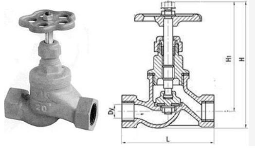 Устройство вентиля 15кч18п1 Ду 20 мм