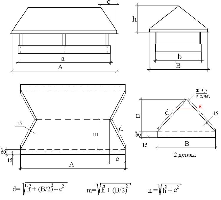 Схема-выкройка для изготовления дымника для трубы