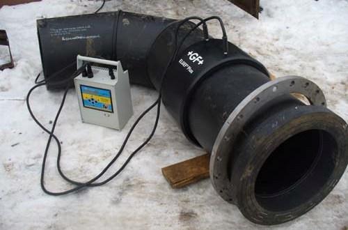 Сварка пластиковой трубы с втулкой под фланец при помощи электромуфты