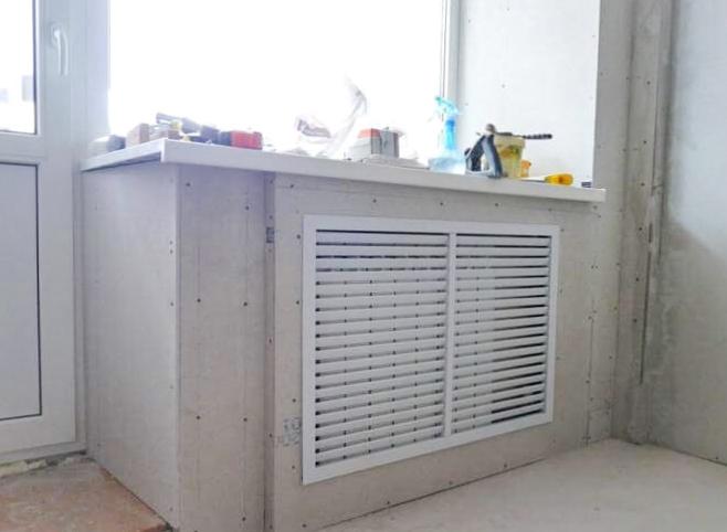 Короб из гипсокартона для радиатора